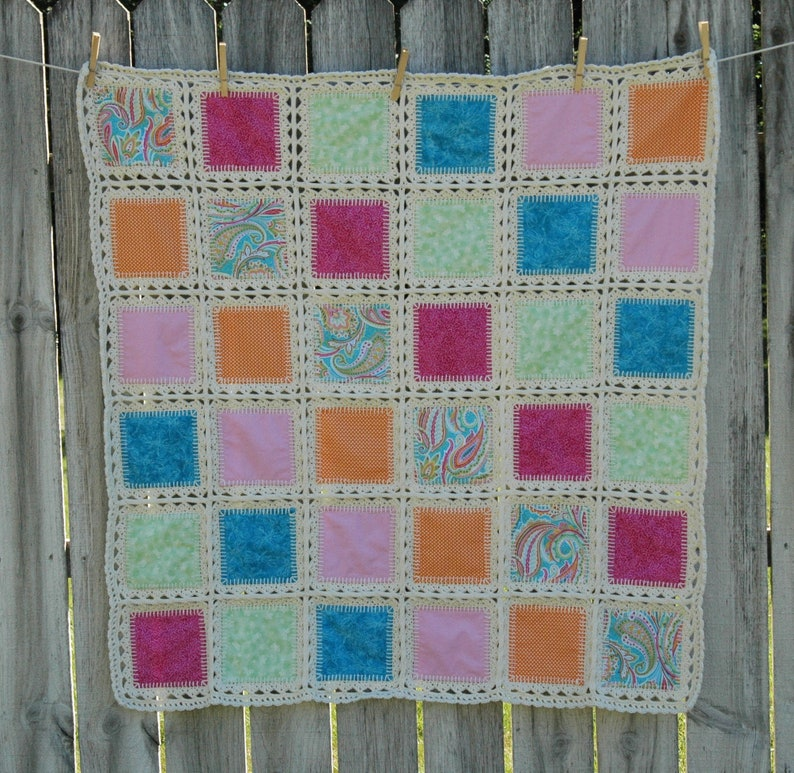Crochet Fusion Quilt, Baby Blanket, Patchwork Quilt, Paisley, Dragonfly,  Pink, Green, Blue, Orange