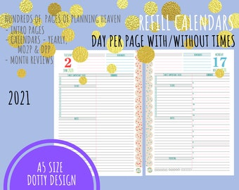 NEW 2021! A5 - 2021 - Day Per Page - Refill Calendar Only - Planner Inserts for Filofax Kikki K - DO1P Day Planner