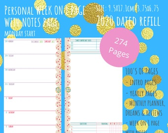 NEW 2021 - Printable PDF - Personal Size - 2021 Weekly Planner - Week on 1 Page with Notes REFILL Calendar - Planner Inserts Filofax Kikki