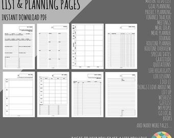 PDF PRINTABLE - Personal Size Filofax/Kikki K Inserts - List and Planning Pages - RUSSELL Design