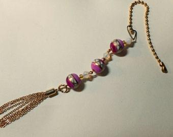 Ornament Bead Fan/Light Pull (E 614)