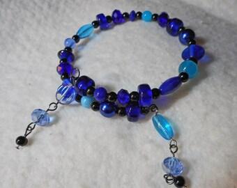 Beautiful Blue Beaded Memory Wire Bracelet  (I 607)