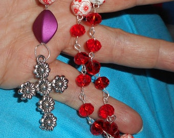 Painted Red Flower Christian Anglican Prayer Beads. (I 639)