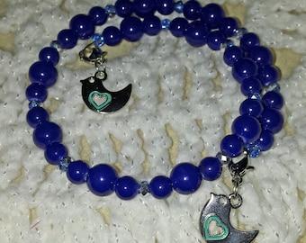 Beautiful Deep Blue Beaded Memory Wire Bracelet (I 412)
