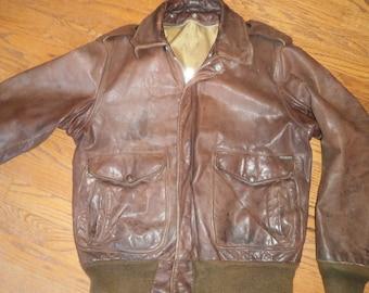 Vintage Brown Leather Bomber Motorcycle Flight Jacket Schott NY Mens Size 40