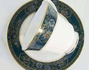 Royal Doulton Carlyle Footed Tea Cup Saucer H5018 English China Blue Teal Flowers Floral Gold Trim Discontinued