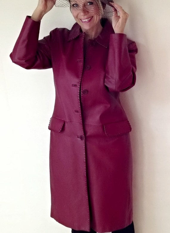 c1db68167 Vintage Long Leather Coat Deep Red Wine Jacket Womens Size Small Leather  Coat Womens Size Medium Leather Coat
