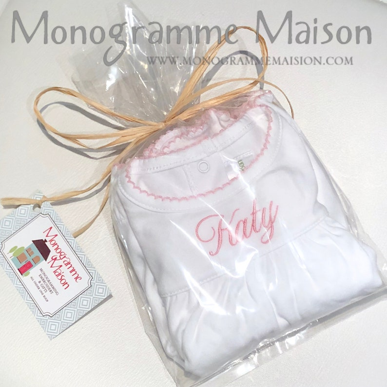 Baby Girl Gift Girls Spring Monogrammed Dress Ruffles Baby Girl Dress Baby Shower Gift Baby Girl Outfit Bloomers Pima Cotton