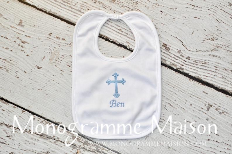 Personalized Bib  Christening Gift  Baptism Gift  Baby image 0