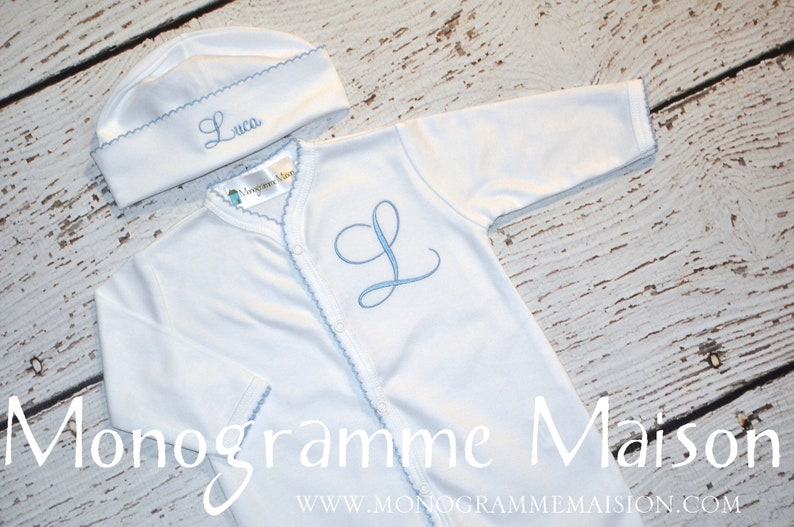 Coming Home Outfit  Baby Boy Outfit  Monogrammed Baby Outfit image 0