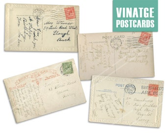 SALE * SALE * Vintage Postcard Clipart. Digital Scrapbooking Printable for Crafting. Postcard Back Writing.
