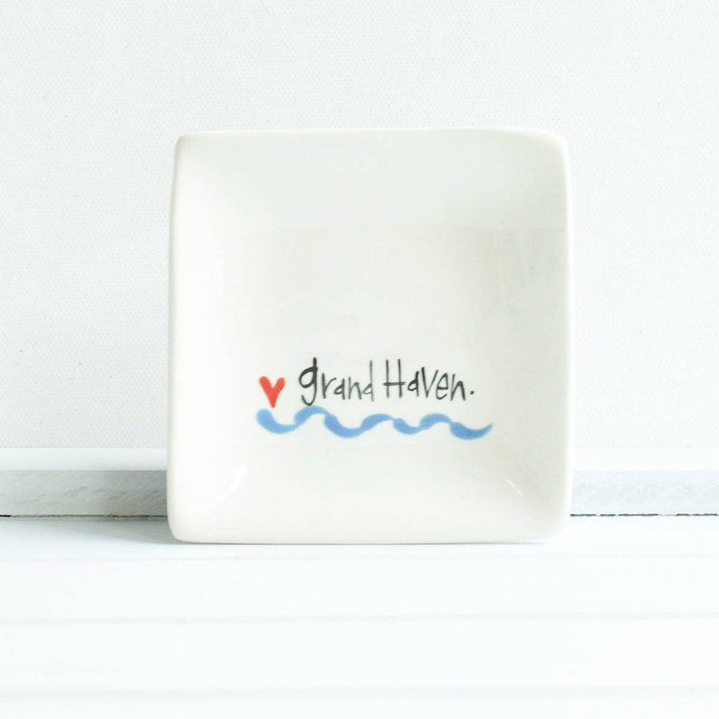 Love MichiganCity wave mugs and plates Pure Michigan inspired dishes Decorative kitchen dishes for fans of the Great Lakes State.