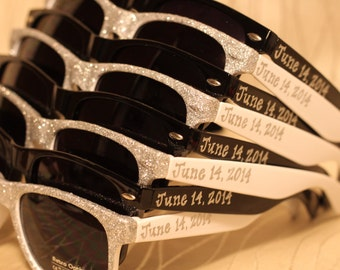 c8fea39cd15 Bridal Party Glitter Front Personalized for Wedding favor sunglasses outside  ceremony reception photo booth beach wedding