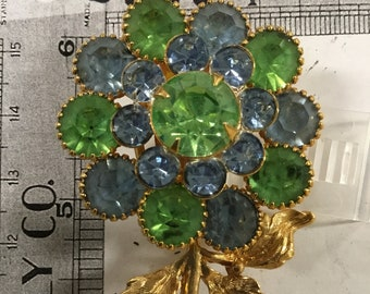 Used - blue and green flower brooch pin -gold tone
