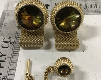 Used - Dante' cuff links and matching tie tack - gold tone