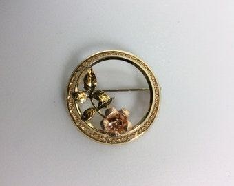 Vintage  Krementz Flower Circle Pin Brooch