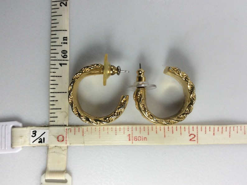 Vintage Post Hoop Earrings Gold Toned With Textured Twist Design Used