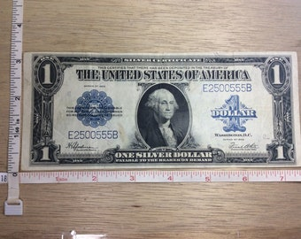 1923 Silver Certificate One Dollar Serial E2500555B Big Paper Money Used