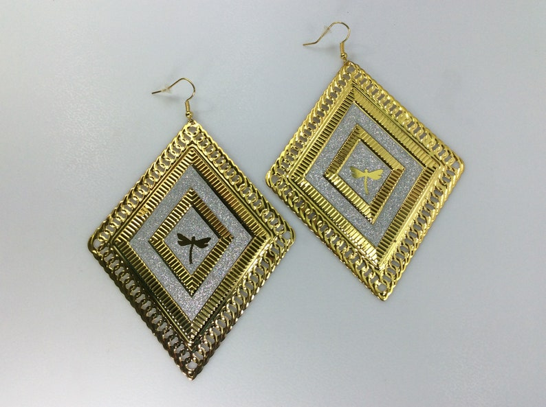 Vintage Dangle Earrings Gold Silver Toned Diamond Shape With Dragonfly Used