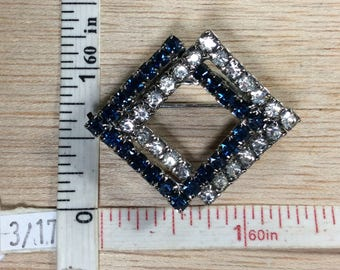 Vintage Silver Toned Blue Clear Rhinestone Squares Pin Brooch Used