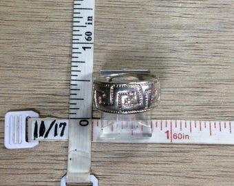 Vintage 925 Sterling Silver 5.9g Ring Size 6 Band Greek Key Design Used