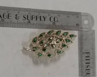 Vintage  silvertone leaf brooch paint loss