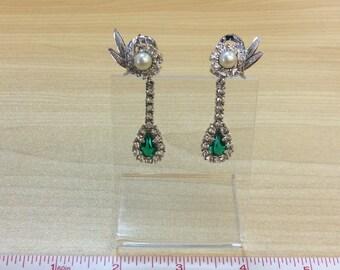 Rhinestone earrings Green/White Faux Pearl Vintage Used