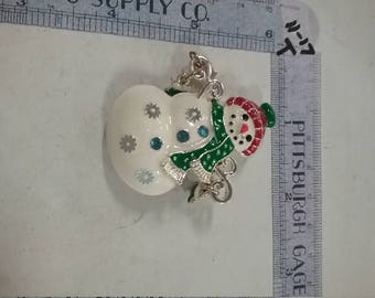 Super cute painted snowman pin brooch