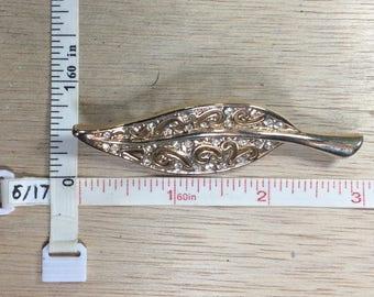 Vintage Gold Toned Clear Rhinestone Leaf Pin Brooch Used