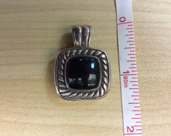 Sterling Silver 925 Black Onyx Pendant 9.1g Used