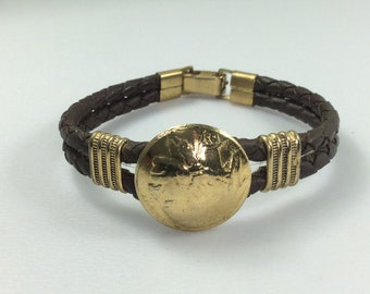 """Vintage 6.75"""" Bracelet Brown Braided Leather With Gold Toned Accents Used"""