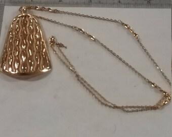 "Vintage  goldtone necklace bell 16"" chain"