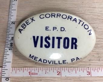 Vintage Abex Corporation Visitor Badge Meadville Pa Used