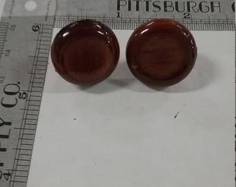 Vintage  used screwback wood earrings