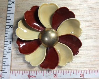 Vintage Pin Brooch Rust And Cream Enamel Flower Used