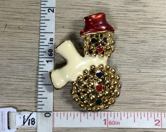 Vintage Gold Toned Pin Brooch Snowman White Red Black Enamel Used