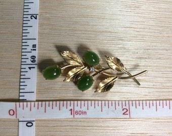 Vintage Pin Brooch Jade 12K Gold Fill Cz Used