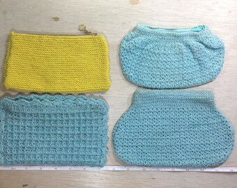 Vintage Old Lot Of Four Purses All Zippered Knit Blue Yellow Used