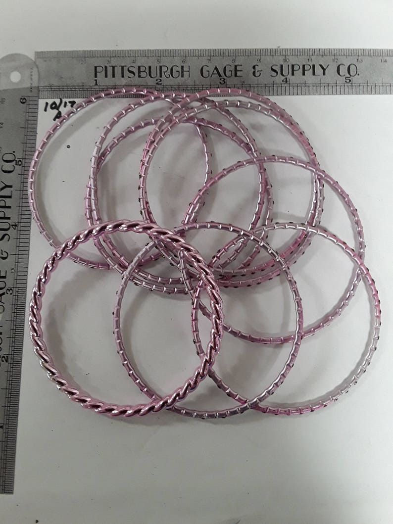 Lot of 9 purple pink bangle bracelets with sparkles used