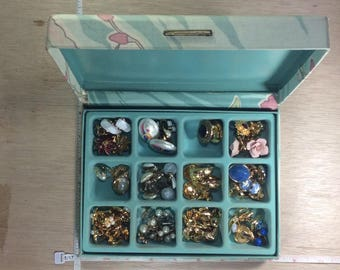 Vintage Huge Lot Jewelry Box Full Of Mostly Earrings Assorted Jewelry Box Damaged As Is Used