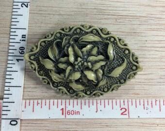 Vintage Resin Hibiscus Flower Pin Brooch Used