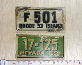 Vintage State Mirror Cards License Plate Facsimile 1953 Used