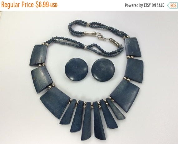 10off3daySALE Vintage 20 Necklace Post Earrings Set Silver Toned Bib Style With Blue Bone Beads Used