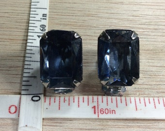 Vintage Silver Toned Blue Glass Clip On Earrings Used