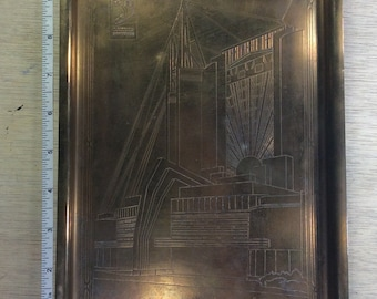 Vintage Brass Souvenir Tray 1933 Travel Building A Century Of Progress Chicago Used