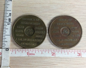 Vintage Pair Of AA Serenity Prayer Coins Brass Toned Used