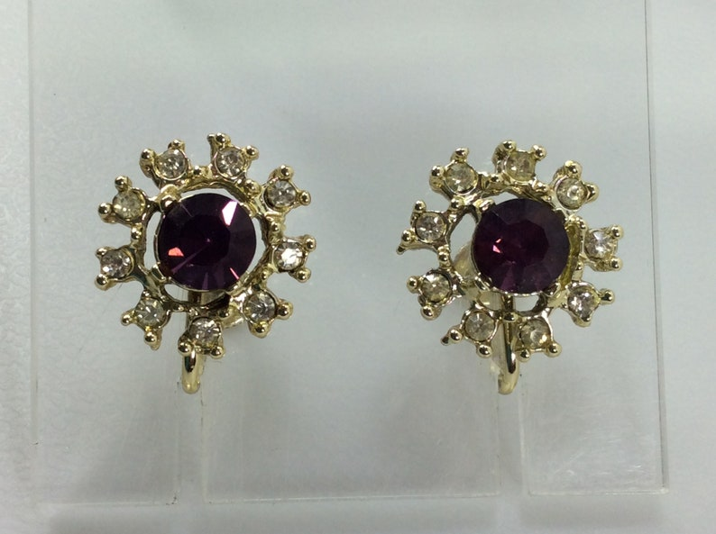 Vintage Screw Back Earrings Gold Toned Round With Purple And Clear Rhinestones Used
