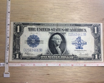 1923 Silver Certificate One Dollar Serial D25434613B Big Paper Money Used