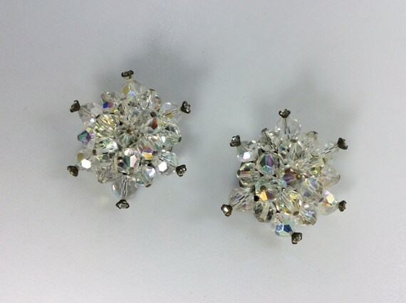 Snowflake Flower Clip Earrings Clear Rhinestones and Silver Metal Signed Monet Vintage Costume Jewellery Jewelry Gift