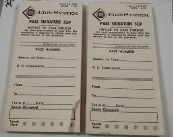 Vintage  Erie RR System  Passenger Signature Slip lot of 2